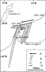 Figure 1 : les « Fleuves de sable » du Sahara Atlantique (d'après Callot et Oulerhi, 1996). A : dérive littorale ; B : « Fleuves de sable » ; C : Sebkhas ; D : plages sableuses ; 1 : Sebkha Tah ; 2 : Sebkha Lehmira ; Sebkha Oum D'baa.