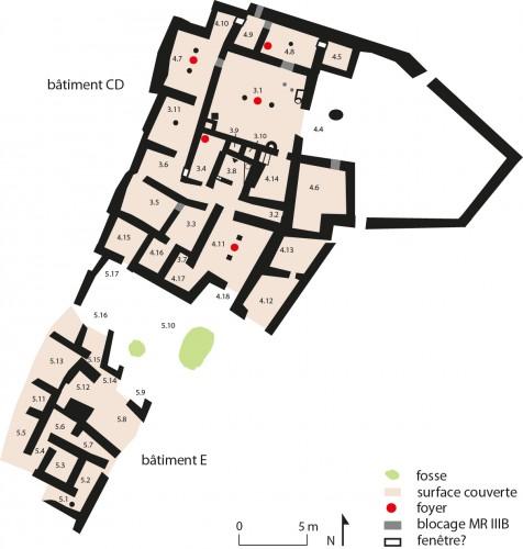 Fig. 1 : plan des bâtiments CD-E de Sissi au Minoen Récent IIIB (F. Gaignerot-Driessen).