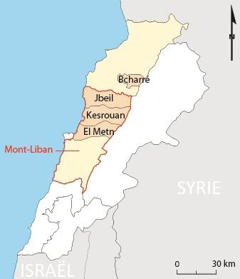 Fig. 1 - Localisation des secteurs étudiés au Liban. Laurianne Brunel, 02.06.2014.