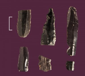 Fig. 2 : outils en obsidienne provenant du site PPNB/PN de Tell Labwe Sud, dans la Beqaa nord au Liban. Echelle 2 cm. (Haïdar-Boustani et al. sous presse ; photo : L. Teira).