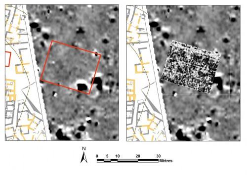 Fig. 2 : Prospection magnétique et radar à Ougarit (Syrie), un cas de terrain où la reconnaissance géophysique est difficile (prospection magnétique : C. Benech, UMR 5133 Archéorient ; prospection radar : F. Réjiba, UMR 7619 METIS)