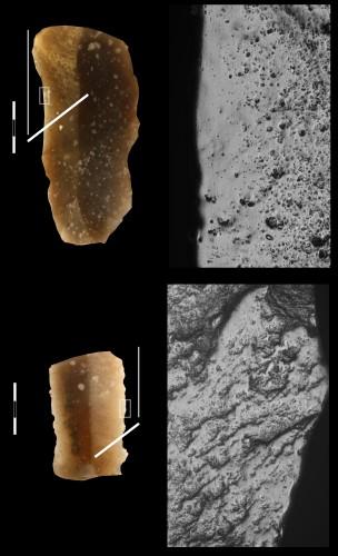 Fig. 5 : Eléments de faucille de La Vaquera (Castile, Spain), correspondant à des faucilles avec éléments longs en insertion oblique (type La Draga 2).