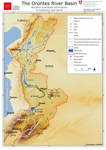 Fig. 3 : Carte du bassin versant de l'Oronte et des aménagements hydrauliques historiques dans les parties libanaise et syrienne du bassin