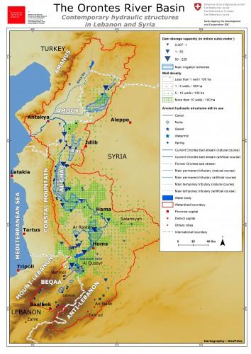 Fig. 5 : Carte du bassin versant de l'Oronte et des aménagements hydrauliques contemporains dans les parties libanaise et syrienne du bassin (en 2010)