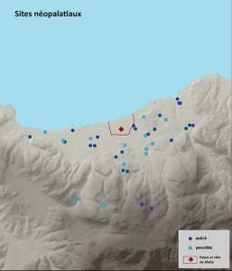Fig. 4-5 : distribution des sites protopalatiaux et néopalatiaux dans la région de Malia (© Etude S. Müller Celka, infographie E. Régagnon).