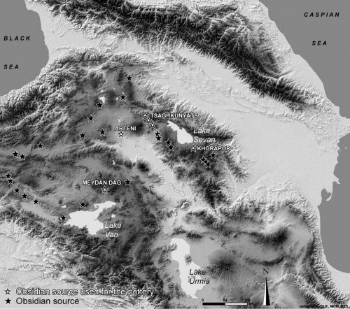 Fig.1: Map of the obsidian sources of Eastern Anatolia and the Southern Caucasus (Drawn by C.Chataigner).
