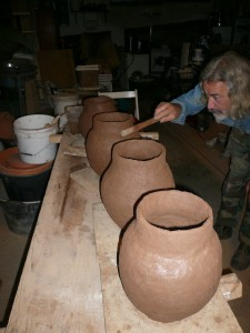 Fig. 7: G. Pulitani checks on the size and shape of the four vessels.