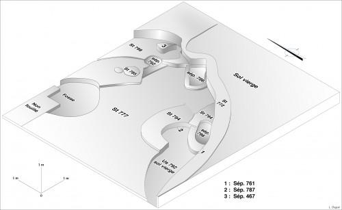 Fig. 2 : Interprétation isométrique de la maison EA24, indiquant l'emplacement des six différentes sépultures : 467, 761, 786, 787, 792, 796. (Khawam 2014, p. 25, dessin/infographie L. Dugué).