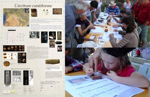 Fig. 4 : L'atelier d'initiation à l'écriture cunéiforme par K. Al Saleem (crédits E. Signor, C. Giguet)