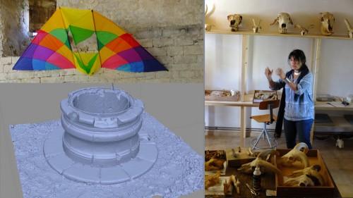 Fig. 5 : L'atelier de photogrammétrie animé par O. Barge (gauche) ; l'archéozoologie expliquée par E. Vila (crédit O. Barge, C. Giguet)