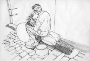 Fig. 1 : Le corps de l'artisan assis est combiné avec une installation qui comprend un siège et une enclume intégrés formant une sorte de bâti composite. En la frappant avec un maillet en bois le travailleur façonne la bordure d'un chaudron qui repose sur une petite enclume fixée horizontalement dans la poutre de son banc.  Dessin de Moheb Chanesaz Nader d'après une photographie d'Ella Dardaillon au Souk al-Nahhasin d'Alep (2005)