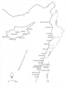Fig. 3 : les sites phéniciens du Levant (Stern 2001 : 59).
