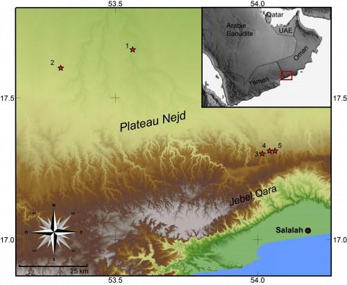 Fig. 2 : Cartes des sites mentionnés dans le texte. 1: Mutahafah; 2: Jebel Kareem; 3: abri de Khamseen; 4: Ghazal; 5: al-Hatab.