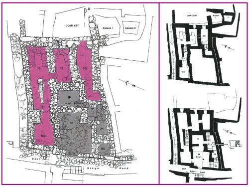 Fig. 5 : Gournia, Maison Ac. Relevé des vestiges, état 1985-1994, et leur répartition sur deux terrasses correspondant à deux étages successifs et restitution du plan de ces deux étages (© Vasso Fotou).