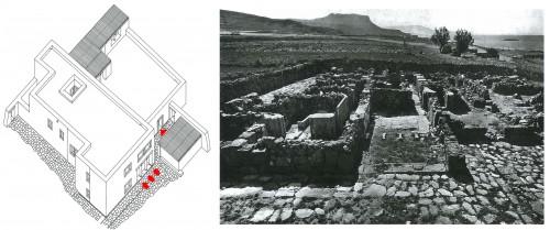 Fig. 6 : Complexe de Nirou Hani. À droite, vue générale des vestiges en partie reconstruits (photo prise entre 1945 et 1959, Marinatos et Hirmer 1960, pl. 65a). À gauche, vue axonométrique restituée (© Vasso Fotou).