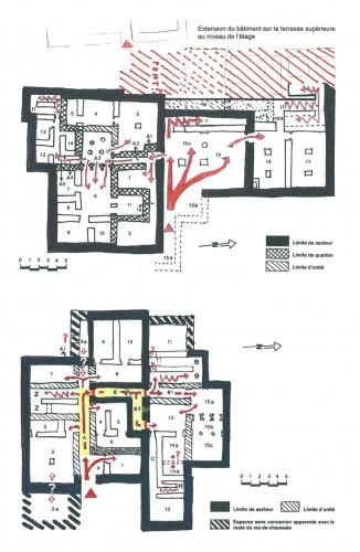 Fig. 9 : Tylissos, Bâtiments A (en haut) et C (en bas). Organisation du rez-de-chaussée en secteurs, unités et pièces isolées et schémas des circulations avec cheminements ramifiés progressivement (© Vasso Fotou).