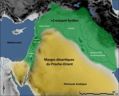 Fig.1 : Carte du « Croissant fertile » (vert) et des marges désertiques du Proche-Orient (jaune).