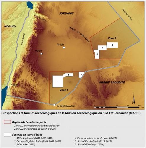 Fig.3 : Localisation des deux grandes zones de l'étude comparée de la Mission Archéologique du Sud-Est Jordanien, ainsi que des secteurs étudiés.