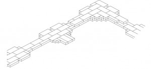 Fig. 3 : Appareil de briques complexe avec pilastres et redans à Tépé Gawra (Iraq), niveau XIII, « temple central », période d'Obeid (dessin M. Sauvage).