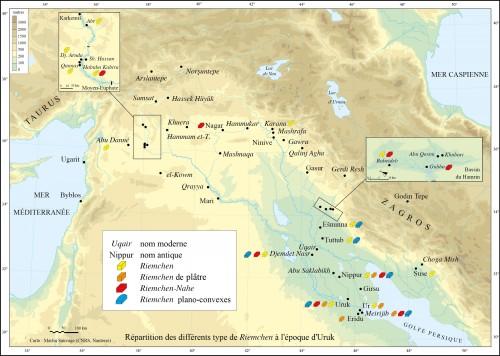 Fig. 4 : Répartition des différents types de briques de l'Uruk récent (carte M. Sauvage).