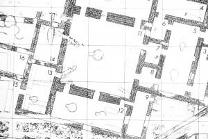 Fig. 6 : Habuba Kabira (Syrie), Osthaus, relevé des murs avec brique à brique, Uruk récent (d'après Strommenger, 1980, fig. 16).