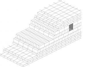 Fig. 5 : Appareil des cœurs de briques crues des ziggurats de la Troisième dynastie d'Ur (dessin M. Sauvage).