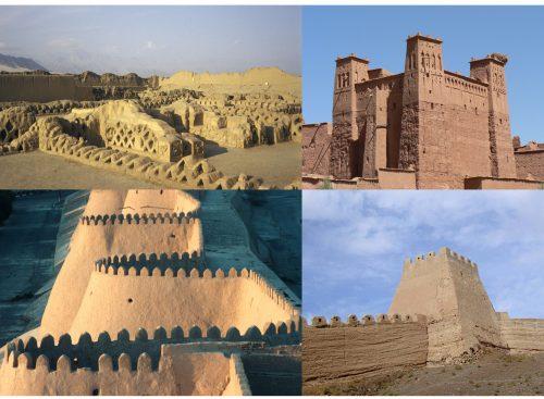 Fig. 4 : 4 photographies de l'échantillon En haut à gauche : Chan Chan, Pérou. (D. Gandreau) En haut à droite : Ksar d'Aït ben Haddou, Maroc (S. Moriset) En bas à gauche : Mur d'enceinte d'Itchan Kala, Ouzbékistan. (T. Joffroy) En bas à droite : Muraille de Chine (Creative Commons BY G. Williams)