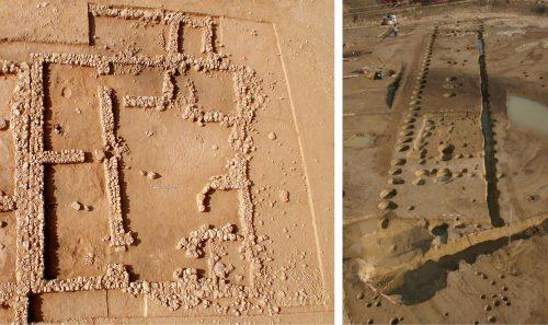 Fig. 8 - à gauche : Photographie de la maison C42, site de Tell Al-Rawda, Syrie (F. Isnard, C. Castel, Mission archéologique franco-syrienne d'Al-Rawda, Syrie), à droite : Photographie du site néolithique de Parme, Italie (M. Bernabò Brea