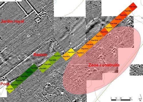 Fig. 4 : Carte de densité de la céramique de surface le long d'un profil de carrés de 20 m de côté (de 0,1 tessons/m² en vert à 2,5 tessons/m² en rouge) localisé au sud-est du grand bassin. Les zones de plus fortes densités de céramiques achéménides/post-achéménides au nord-est se superposent aux zones construites repérées sur les cartes magnétiques (ovale rouge). © Mission irano-française « Shiraz »