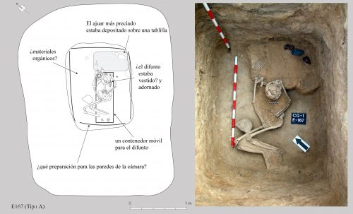 "Middle Neolithic ""Sepulcre de fossa"" with grave goods that include flint cores and a polished axe (Roig et al., 2010)."