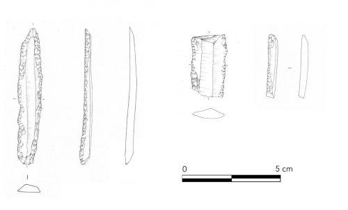 Fig. 12 : Lames régulières à retouches bilatérales (dessins L. Quaranta). © Mission Caucase.