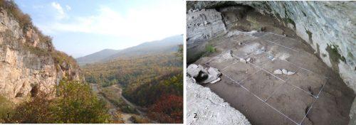 Fig. 2 : 1 : vue de la vallée depuis la grotte ; 2 : vue de la grotte depuis la terrasse. © Mission Caucase.