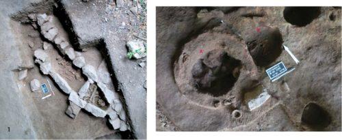 Fig. 3 : Sépultures médiévales de Getahovit 2. 1 : tombe en ciste à deux chambres sépulcrales (d'après Kalantaryan et al. 2012, tabl.III, p.159) ; 2 : sépulture d'enfant (B') dans une fosse coupée par une structure de stockage (A'). © Mission Caucase.