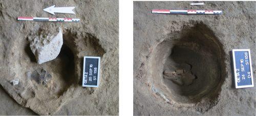 Fig. 7 : Deux états d'une même fosse circulaire (structure 158) avec tessons de céramique (à droite) et un fragment de bois de cervidé (à gauche). © Mission Caucase.
