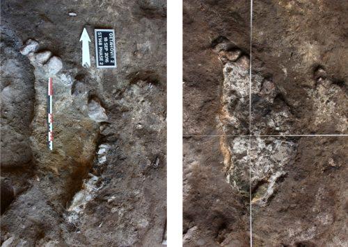 Fig. 8 : Deux états d'un même foyer semi circulaire (structure 148) coupé par la fosse médiévale n°146. Le foyer est aménagé par la disposition de petites pierres de calibre similaire en sa périphérie. © Mission Caucase.