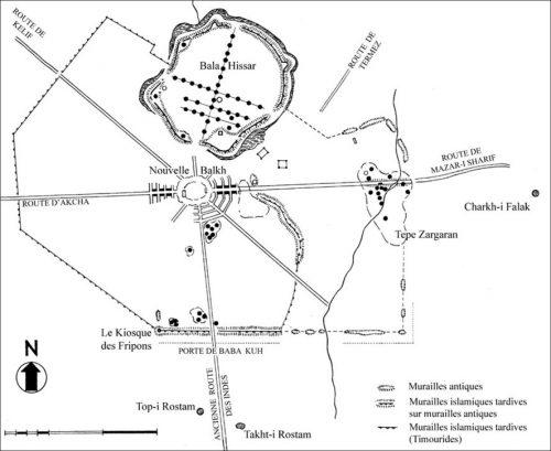 Fig. 2 : Plan de Bactres (d'ap. Le Berre 1964 Monuments préislamiques d'Afghanistan, Paris)