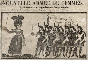 Détail. Nouvelle armée de femmes St-Simoniennes, organisée en Corps mobile : [estampe] - Source BnF, département Estampes et photographie, RESERVE QB-370 (96)-FT4