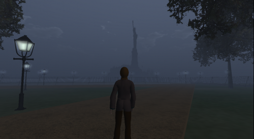"A user avatar looks at the Statue of Liberty from Battery Park, New York. The Statue is an example of ""billboarding""."