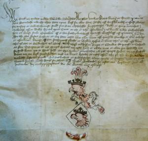 Wappenbrief Malmös vom 23.04.1437, Stadtarchiv Malmö Foto: CC BY-SA Sven Rosborn
