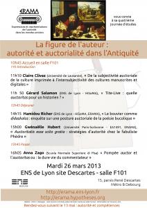 La figure de l'auteur : autorité et auctorialité – mardi 26 mars 2013