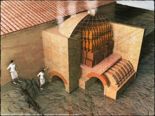 Port-la-Nautique (Narbonne). Restitution du four de potiers. © P. Cervellin, GRAL-CNRS