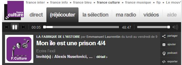 «Ecrire l'exil» I La Fabrique de l'histoire – France Culture, 22 mai 2014