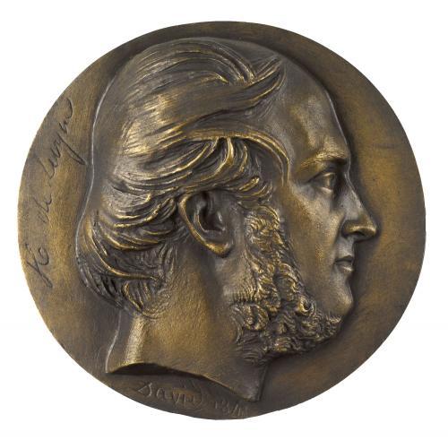 Honoré d'Albert, duc de Luynes. Homme, en buste, barbe, de profil, col nu. David d'Angers, Pierre-Jean (Angers, 12–03–1788 - Paris, 05–01–1856), sculpteur Thiébaut Frères, fondeur