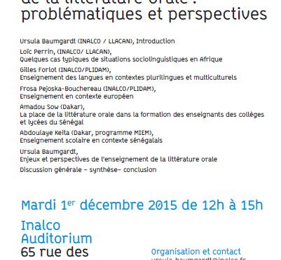 Compte rendu du colloque d'INALCO : Transmission et enseignement de la littérature orale : problématiques et perspectives