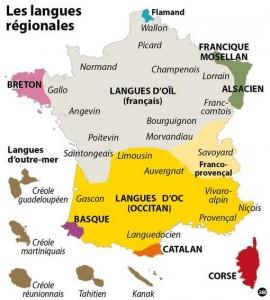Carte trouvée sur le site suivant: www.franceculture.fr Il s'agit d'une représentation géographique des langues régionales non exhaustive