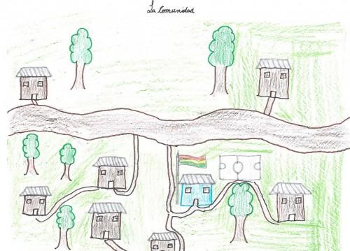 Mapa mental de Rosalia (9 años). La escuela es al centro del dibujo, como en la mayoría de los mapas mentales (de los niños, pero también de los adolescentes y de los adultos): es la casa azul con la bandera boliviana. Barrelet, 2013.