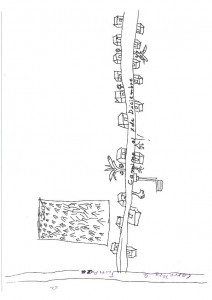 Mapa mental de Juana (44 años) y Lindaura (40 años). La parcela agrícola ha sido incluida en la percepción del territorio de la comunidad por varios habitantes a través de sus mapas mentales. Barrelet, 2013.