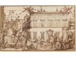 F.&T. Zuccaro peignant la façade Palazzo Mattei c.1595 plume et lavis bruns ©JP Getty Museum