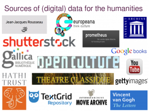 Sources of digital data for the humanities