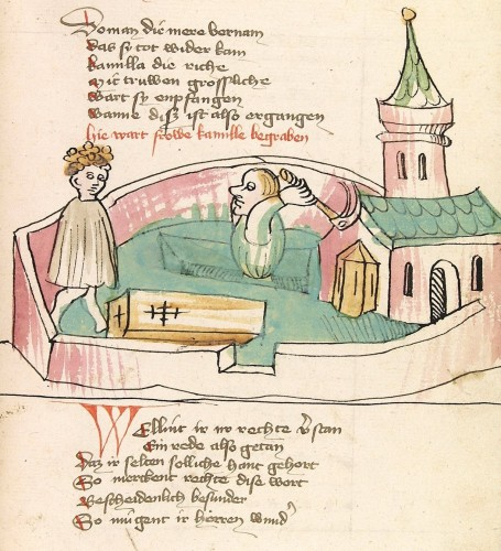 Begräbnisdarstellung aus dem Spätmittelalter. Elsässische Werkstatt, 1418 (UB Heidelberg, Heidicon).